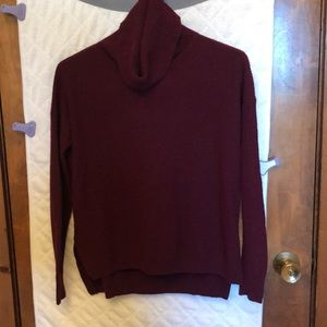 Madewell burgundy ribbed cowl neck sweater